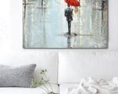 GICLEE PRINT Art Abstract Painting Couple Red Umbrella Girl Modern Art Home Decor Wall Art Rain City Blue Palette Knife- Christine Krainock