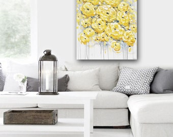 "ORIGINAL Art Abstract Oil Painting Yellow Grey Flowers Large Acrylic Painting Wall Art Peonies Textured Palette Knife 40"" Christine Krainock"