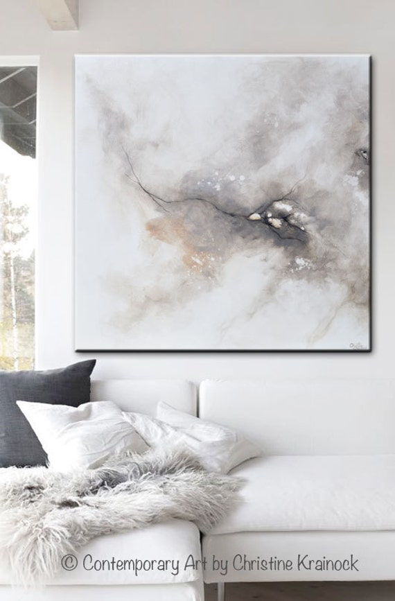 Original large art abstract painting grey white acrylic for Modern black and white wall art