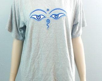 "SALE Vintage Gray ""Buddha's Eyes"" Tee"