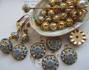 Swarovski  Blue Opal  Three Layer  Crystal Drop Or Rhinestone Beads
