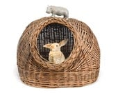"""vintage pet bed, cat bed, wicker, 19"""", pet house, dog house, cat house,"""