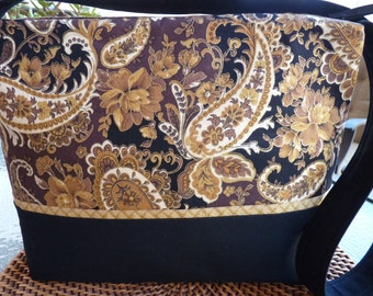 Handcrafted Paisley Zipper Purse/Handbag/Shoulder Bag with inside pockets