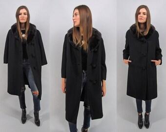 Vintage 30s Boucle Coat, Mink Collar Coat, 30s Heavy Wool Coat, Black Wool Coat Δ fits sizes: xs / sm / md