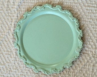 Ornate Silver Plated Large Cake Plate - Shabby Chic Wedding Cake Tray - Distressed Aqua over Cream