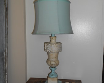 Vintage ReCycled Italian Alabaster Lamp - Salvaged Shabby Chic Bed Side Lamp - Accented in Aqua