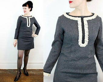 Vintage 1960s dress . Ash and Lace . charcoal grey mod mini dress . 60s empire waist dress with lace trim . md / medium