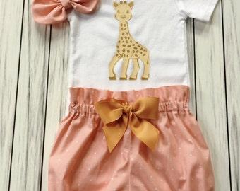 Girls 1st Birthday Onesie Outfit, Bloomers, Knot Bow Headband, Cute Giraffe, Gold Giraffe Onesie, Carters Onesie, Baby Girl Pink Onesie Set