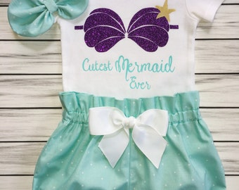 Girls 1st Birthday Onesie Outfit, Bloomers, Knot Bow Headband, Carters Onesie, Baby Girl Outfit, Shell Bra Mermaid, Cutest Mermaid  Ever