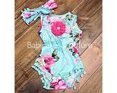 Pom Pom Romper, Baby Girl Pom Pom Romper & Headband, Mint Green Floral Pom Pom Romper, BOHO Baby Romper, Summer Baby Girl Romper LAST ONE