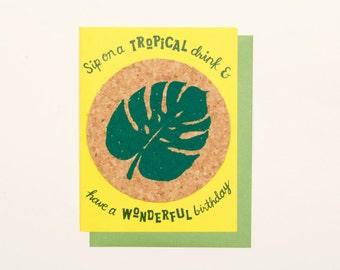Palm Leaf Tropical Bday - coaster card
