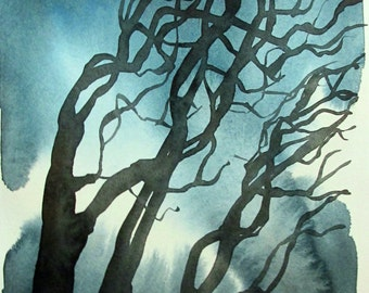 Nocturne - Branches, original watercolor painting