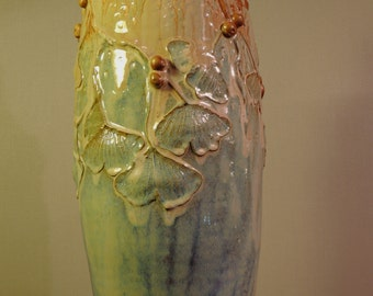 Wood Fired Ginkgo Branch  Studio Vase