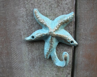 Starfish Wall Hook, Aqua Color, Cast Iron, Nautical Home Accent Handmade