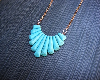 Turquoise tribal howlite and copper statement necklace