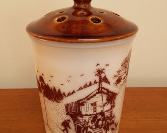 Amway Milk Glass Jar with Aerated Pottery Lid / Kitchen Jar with Winter Scene