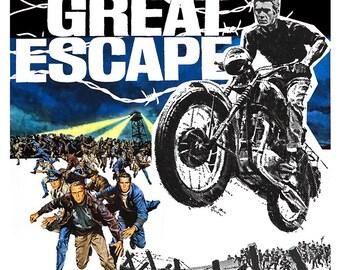 """Steve McQueen - The Great Escape - Home Theater Decor - Movie Poster Print  13""""x19"""" - Media room decor -"""