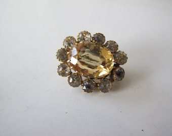 Gorgeous Georgian/Early Victorian Gold and Paste and Citrine Halo Brooch Pin