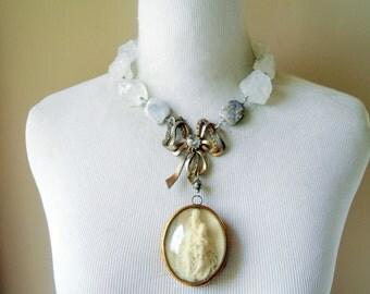 Religious Meerschaum Necklace, SALE, French, Antique, Mary, Jesus, Ex Voto, Reliquary, Relic, Quartz Nuggets, Vintage Repurposed, Upcycled