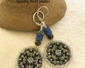 Wolf Moon earrings - black blue gray beaded jewelry