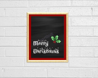 Chalkboard Merry Christmas Holiday Decor Chalk Board Sign Christmas Printable 8x10 Wall Decor Holiday Decor Christmas Printable Decor