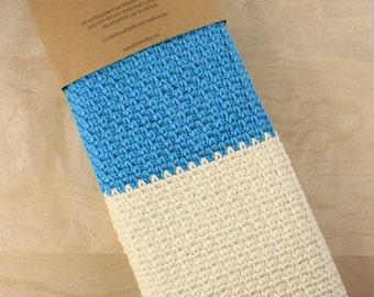 Crochet Hand Towel - 100% Cotton - Blue/White