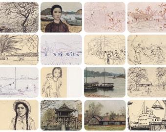 "I. Glazunov ""Vietnam"". Complete Set of 16 Prints, Postcards in original cover -- 1974"