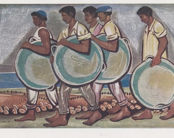 "Alevizos Thassos ""Fishermen"" Postcard -- 1960"