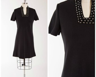 Vintage 60s Dress • Divine Spark • Black Knit 1960s Cocktail Dress with Beading Sequins and Rhinestones Size Small