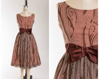 Vintage 50s Party Dress Brown Pink Paisley Print Chiffon 1950s Vintage Sleeveless Formal Dress with Satin Bow Waist Size Small