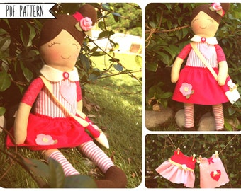 Pdf sewing pattern doll -includes Doll skirt dresses bag-Tutorial DIY Girl Toy-Easy Rag Doll cloth dolly Toy