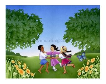 ORIGINAL WATERCOLOR PAINTING Multi cultural children dancing together