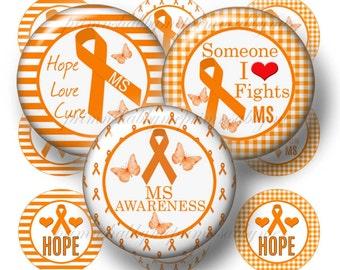 MS Awareness, 1 Inch Circle, Bottle Cap Images, Sayings. Digital Collage Sheet, Orange Ribbon, Causes, 1 Inch Circles ( No.1)