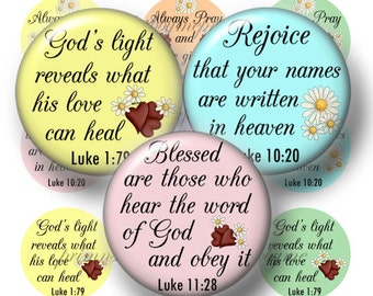 "CHRISTIAN, Bible Verses, Bottle Cap Images,1 Inch Circles, Digital Collage sheet, Jesus, 1"" Circles, Instant Download, Printable ( No.8)"
