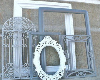 Shades of Gray Ornate Picture Frame Set White Gallery Wall 6 Piece