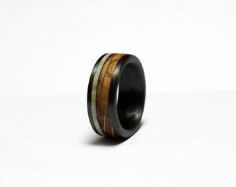 Carbon Fiber Ring with Whiskey Barrel Oak and Deer Antler