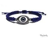 Evil Eye Bracelet, Mens Cord Bracelet, Navy Blue Cord Bracelet, Macrame Bracelet, Mens Bracelet, Evil Eye Jewelry, Boyfriend Gift, Mens Gift