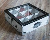 Multifunctional Tea Wooden Box Black and White Tea Box Jewelry box Tea Organizer Jewelry Organizer Tea Storage Box Kitchen Organizer