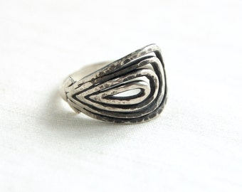 Adjustable Mexican Ring Sterling Silver Size 9 Vintage Modernist Swirl Thumbprint Taxco Mexico