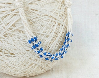 Blue white layered linen necklace Natural jewelry multi strand crochet beaded necklace Boho chic Gift for her Nautical