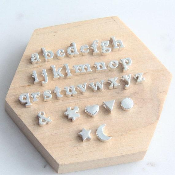 Silver Alphabet Beads: Alphabet Bead Alphabet Charm Letter Charm Sterling Silver