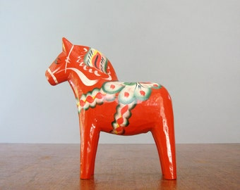 Vintage Swedish Dala Horse - Orange 7 Inch