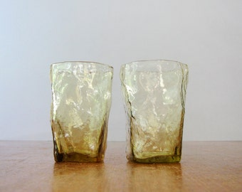 Two Mid Century Morgantown / Seneca Crinkle Drinking Glasses - Amber
