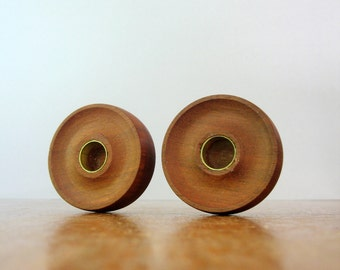 Pair Vintage Japanese Modern Teak Wood Candle Holders