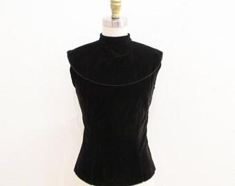Vintage 1950s Blouse | Black Sleeveless 1950s Velvet Blouse | size small
