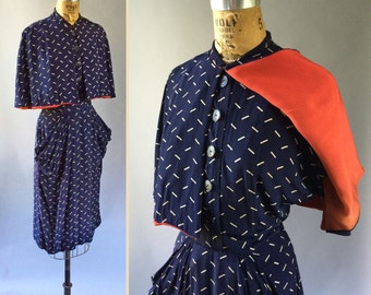 Dish 'N Dat 1940s Vintage Rayon Navy & White Dash Print Two piece Sleeveless Dress and Two-Tone Cape Set