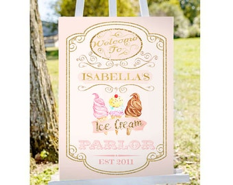 Ice Cream Sign- Ice Cream Parlor- Pink Gold- Ice Cream Party Sign- Ice Cream Social- Birthday Party Sign- Welcome Sign- Printable- YOU PRINT