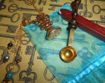 Lovely Vintage Sagittarius Wax Seal Stationery Necklace Birth Stones Ruby Sapphire Amethyst Turquoise