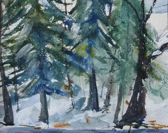 Original Art  Original Watercolor Landscape Painting  Pine Trees in Winter  CarlottasArt