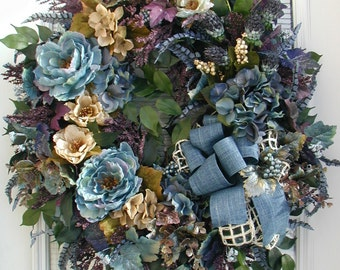 Large Winter Wreath Fall All Year Summer Spring Front Door Silk Floral Elegant Fireplace Decoration Denim Blue Purple French Country Luxe